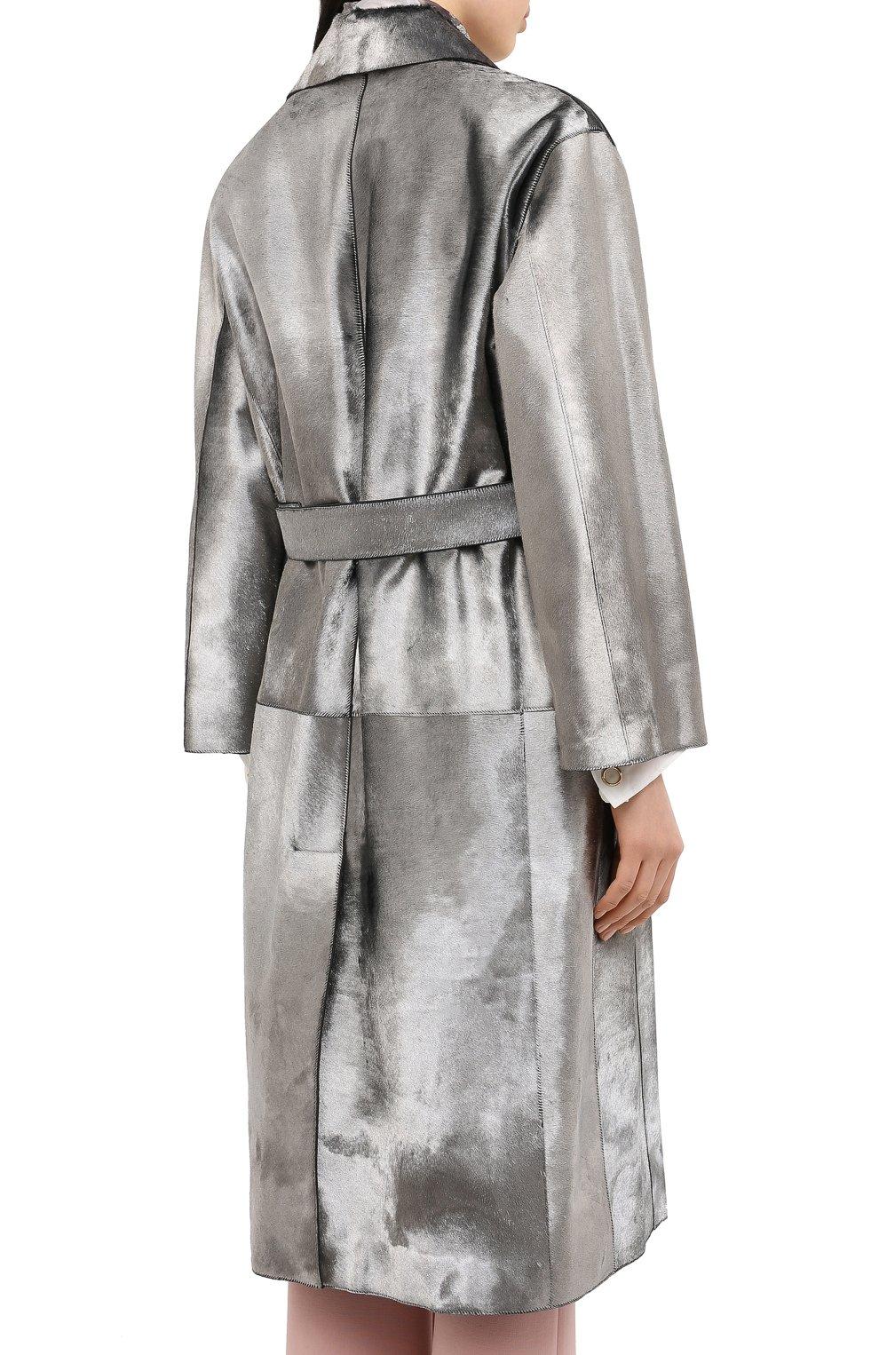 Женское меховое пальто с поясом GIORGIO ARMANI серебряного цвета, арт. 1AL04P/1AP12   Фото 4