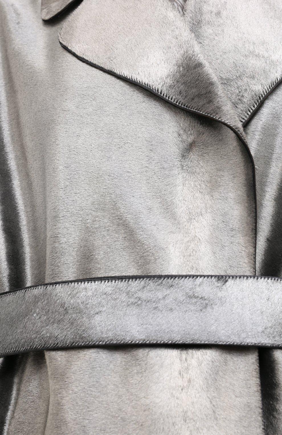 Женское меховое пальто с поясом GIORGIO ARMANI серебряного цвета, арт. 1AL04P/1AP12   Фото 5