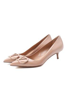 Женская кожаные туфли valentino garavani vlogo VALENTINO розового цвета, арт. UW2S0Q63/TMK | Фото 1