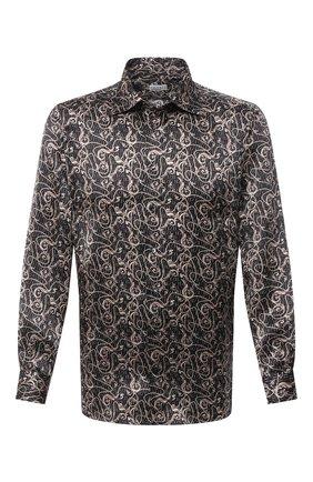 Мужская шелковая рубашка ZILLI черного цвета, арт. MFU-27001-1668/0005   Фото 1 (Рукава: Длинные; Материал внешний: Шелк; Длина (для топов): Стандартные; Случай: Повседневный; Стили: Кэжуэл; Воротник: Кент)