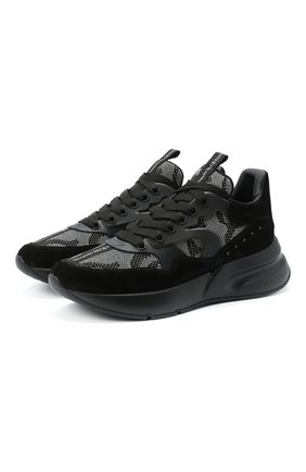 Мужские комбинированные кроссовки ALEXANDER MCQUEEN черного цвета, арт. 627193/WHBGS | Фото 1