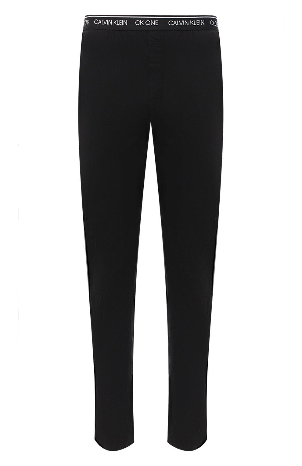 Мужские хлопковые домашние брюки CALVIN KLEIN черного цвета, арт. NM1796E | Фото 1 (Длина (брюки, джинсы): Стандартные; Кросс-КТ: домашняя одежда; Мужское Кросс-КТ: Брюки-белье; Материал внешний: Хлопок)