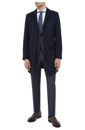 Мужской пальто из шерсти и кашемира HUGO темно-синего цвета, арт. 50438437 | Фото 2