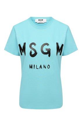 Женская хлопковая футболка MSGM голубого цвета, арт. 2941MDM60 207798 | Фото 1