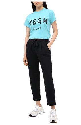 Женская хлопковая футболка MSGM голубого цвета, арт. 2941MDM60 207798 | Фото 2