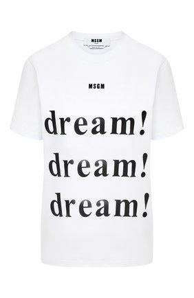 Женская хлопковая футболка MSGM белого цвета, арт. 2941MDM170 207798 | Фото 1