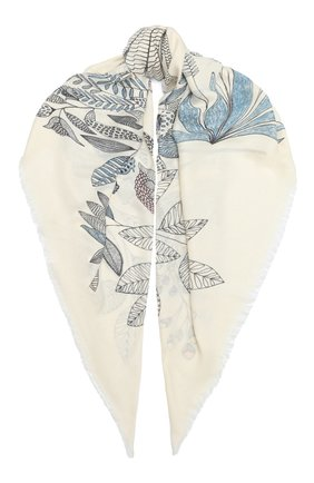 Женская шаль из кашемира и шелка  scialle LORO PIANA белого цвета, арт. FAL2421 | Фото 1
