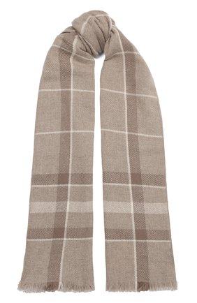 Мужские кашемировый шарф stola LORO PIANA серого цвета, арт. FAL2712 | Фото 1