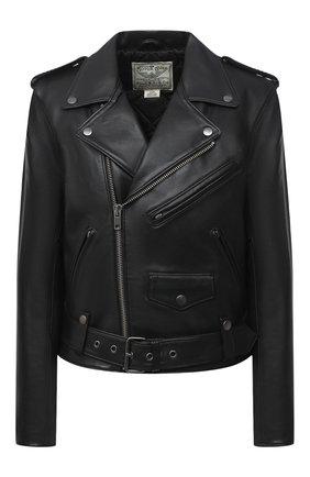 Женская кожаная куртка POLO RALPH LAUREN черного цвета, арт. 211753241 | Фото 1