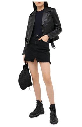 Женская кожаная куртка POLO RALPH LAUREN черного цвета, арт. 211753241 | Фото 2