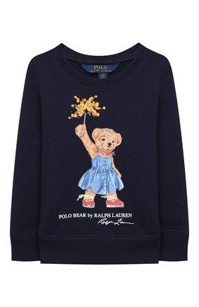 Детский хлопковый свитшот POLO RALPH LAUREN синего цвета, арт. 311807094 | Фото 1
