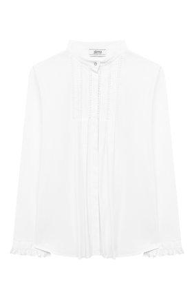 Детское хлопковая блузка ALETTA белого цвета, арт. AC000469ML/9A-16A | Фото 1