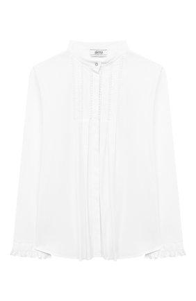 Детское хлопковая блузка ALETTA белого цвета, арт. AC000469ML/4A-8A | Фото 1