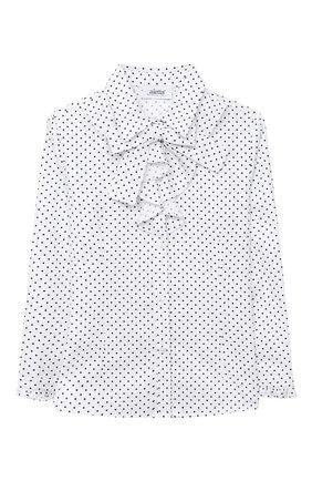 Детское хлопковая блузка ALETTA белого цвета, арт. AC000471AML/9A-16A | Фото 1