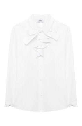 Детское хлопковая блузка ALETTA белого цвета, арт. AC000471BML/9A-16A | Фото 1