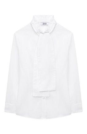 Детское хлопковая блузка ALETTA белого цвета, арт. AC000472ML/9A-16A | Фото 1