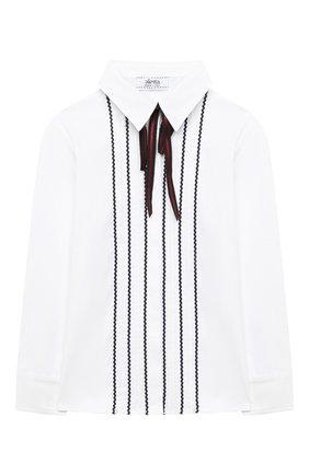 Детское хлопковая блузка ALETTA белого цвета, арт. AC000484ML/9A-16A | Фото 1