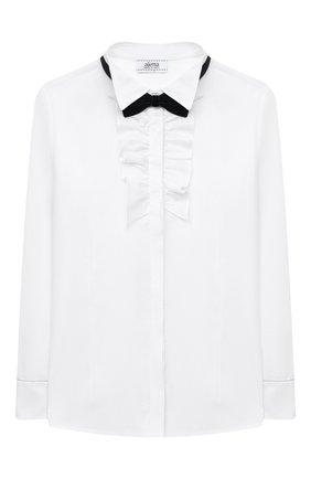 Детское хлопковая блузка ALETTA белого цвета, арт. AC000487ML/9A-16A | Фото 1