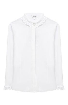 Детское хлопковая блузка ALETTA белого цвета, арт. AC000488ML/9A-16A | Фото 1