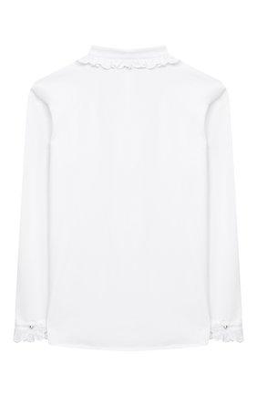 Детское хлопковая блузка ALETTA белого цвета, арт. AC000488ML/9A-16A | Фото 2