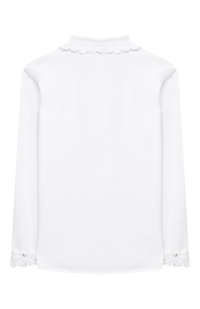 Детское хлопковая блузка ALETTA белого цвета, арт. AC000488ML/4A-8A | Фото 2