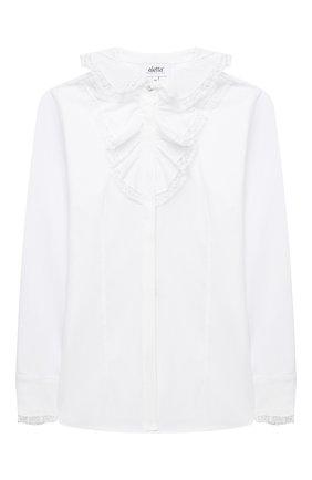 Детское хлопковая блузка ALETTA белого цвета, арт. AC000493ML/9A-16A | Фото 1