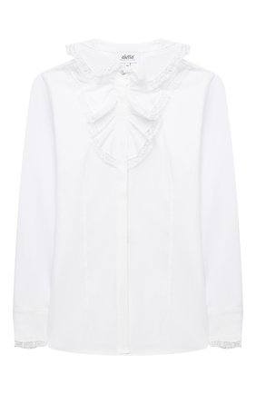 Детское хлопковая блузка ALETTA белого цвета, арт. AC000493ML/4A-8A | Фото 1