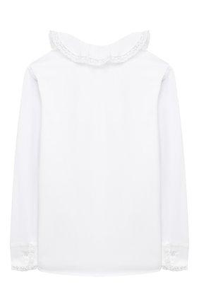 Детское хлопковая блузка ALETTA белого цвета, арт. AC000493ML/4A-8A | Фото 2