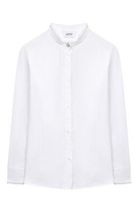 Детское хлопковая блузка ALETTA белого цвета, арт. AC000495ML/9A-16A | Фото 1
