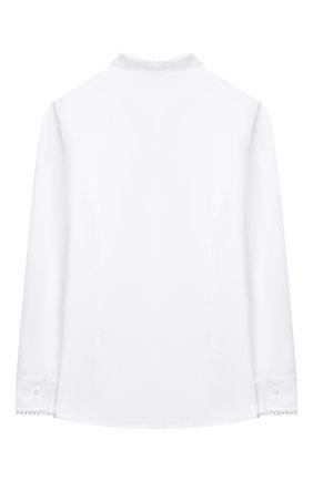 Детское хлопковая блузка ALETTA белого цвета, арт. AC000495ML/9A-16A | Фото 2