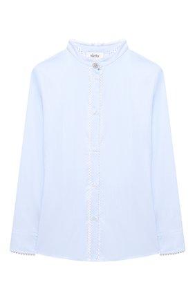 Детское хлопковая блузка ALETTA голубого цвета, арт. AC000495ML/9A-16A | Фото 1