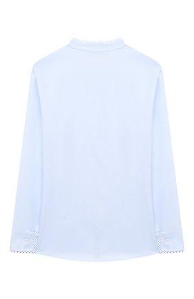 Детское хлопковая блузка ALETTA голубого цвета, арт. AC000495ML/9A-16A | Фото 2