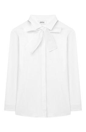Детское хлопковая блузка ALETTA белого цвета, арт. AC666278DML/9A-16A | Фото 1