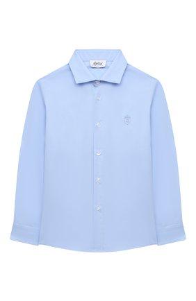 Детская хлопковая рубашка ALETTA голубого цвета, арт. AM000609ML/4A-8A | Фото 1 (Материал внешний: Хлопок; Рукава: Длинные; Стили: Классический; Ростовка одежда: 6 лет | 116 см, 7 лет | 122 см, 8 лет | 128 см)