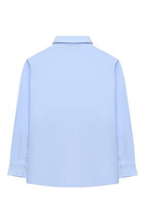 Детская хлопковая рубашка ALETTA голубого цвета, арт. AM000609ML/4A-8A | Фото 2 (Материал внешний: Хлопок; Рукава: Длинные; Стили: Классический; Ростовка одежда: 6 лет | 116 см, 7 лет | 122 см, 8 лет | 128 см)