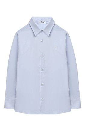 Детская хлопковая рубашка ALETTA голубого цвета, арт. AM000610ML/4A-8A | Фото 1 (Рукава: Длинные; Материал внешний: Хлопок; Стили: Классический; Ростовка одежда: 6 лет | 116 см, 7 лет | 122 см, 8 лет | 128 см)