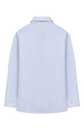 Детская хлопковая рубашка ALETTA голубого цвета, арт. AM000610ML/4A-8A | Фото 2 (Рукава: Длинные; Материал внешний: Хлопок; Стили: Классический; Ростовка одежда: 6 лет | 116 см, 7 лет | 122 см, 8 лет | 128 см)