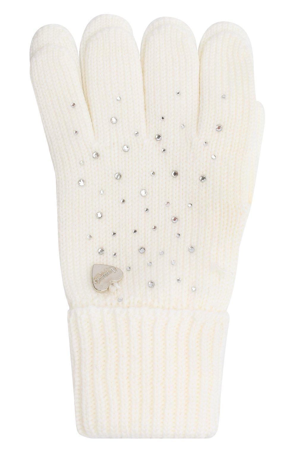 Детские шерстяные перчатки IL TRENINO белого цвета, арт. 20 4028/E0 | Фото 1