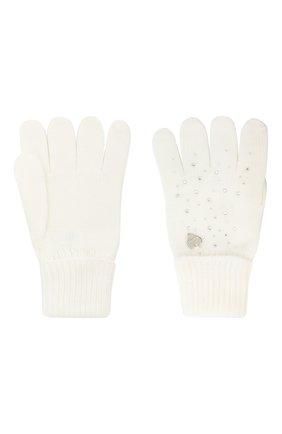 Детские шерстяные перчатки IL TRENINO белого цвета, арт. 20 4028/E0 | Фото 2