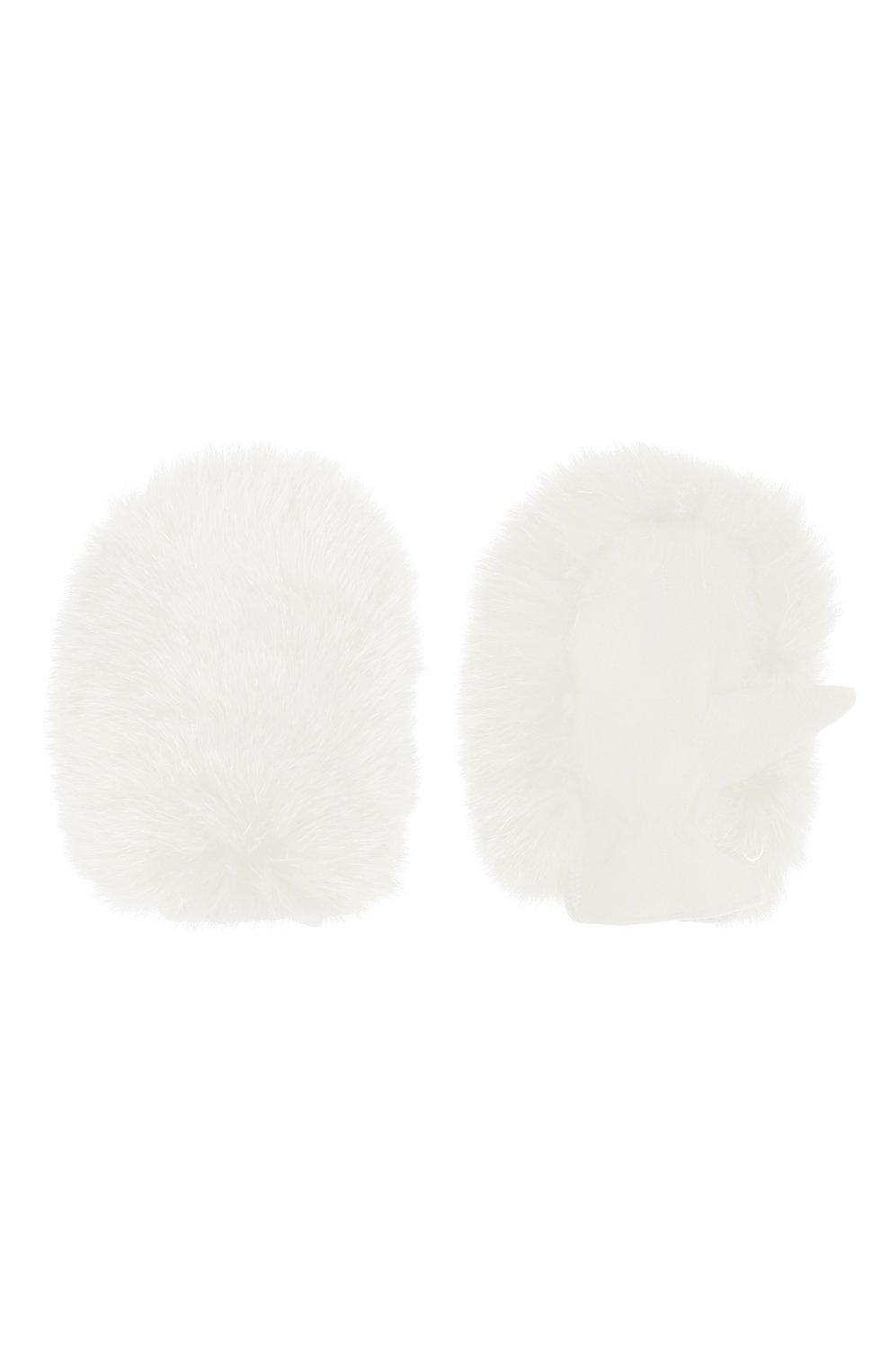 Детские шерстяные варежки с меховой отделкой IL TRENINO белого цвета, арт. 20 4078/E0 | Фото 2