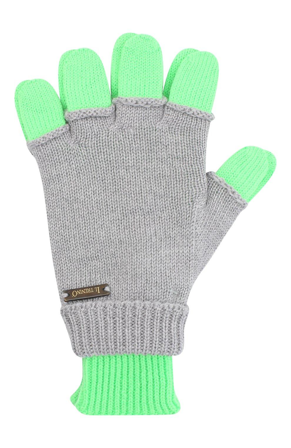 Детские шерстяные перчатки IL TRENINO серого цвета, арт. 20 7859/E0   Фото 1