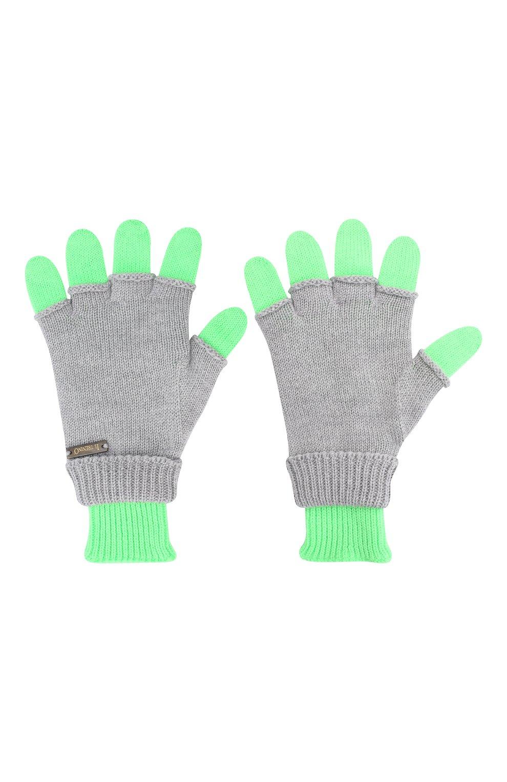 Детские шерстяные перчатки IL TRENINO серого цвета, арт. 20 7859/E0   Фото 2