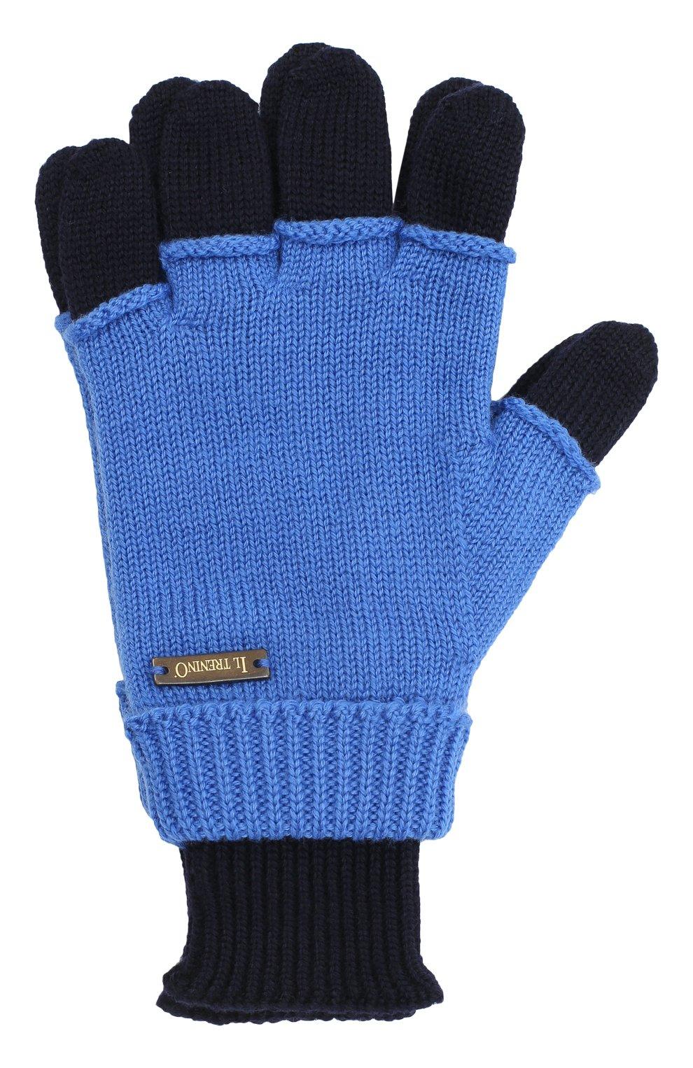 Детские шерстяные перчатки IL TRENINO синего цвета, арт. 20 7859/E0 | Фото 1
