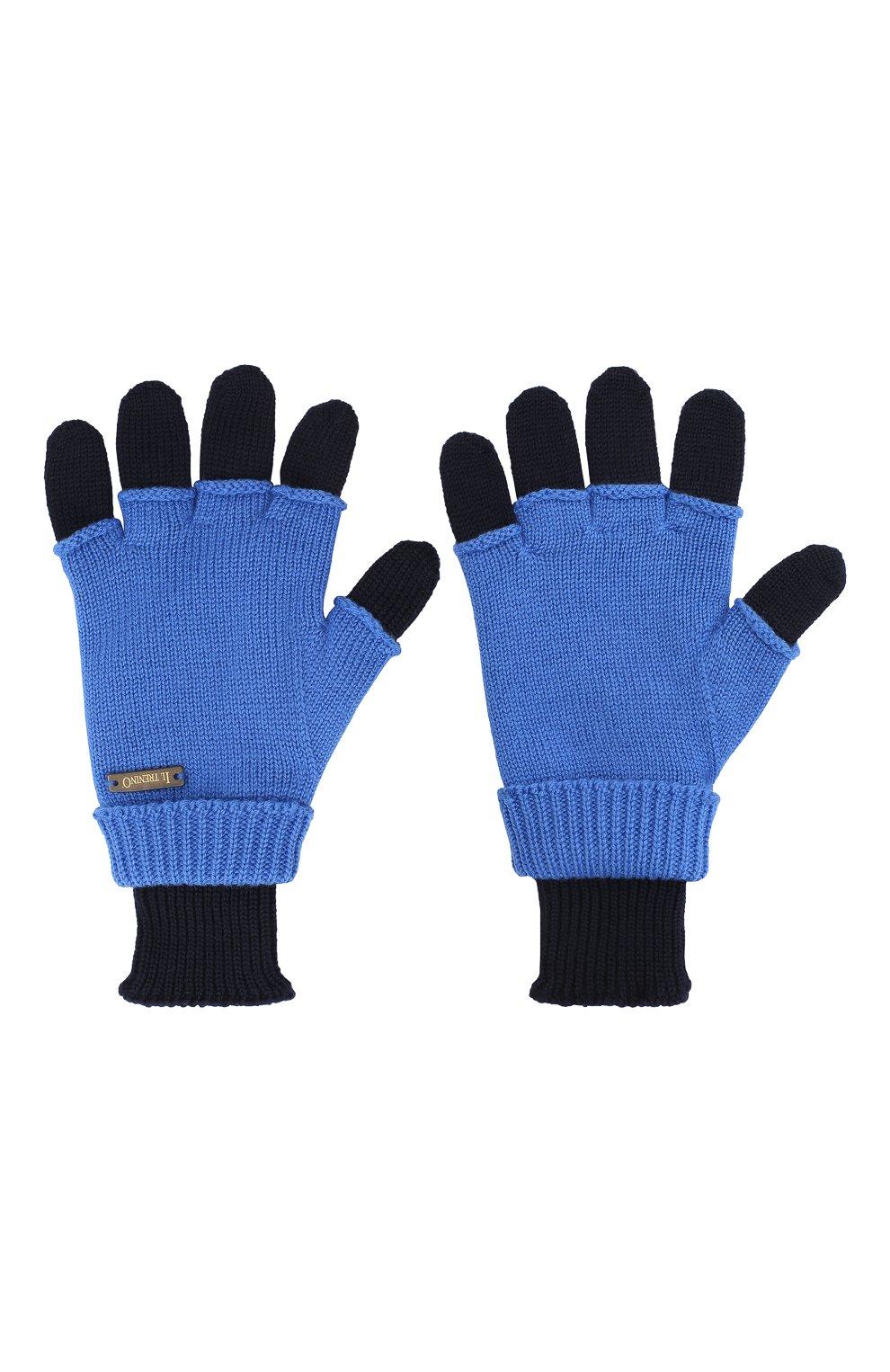 Детские шерстяные перчатки IL TRENINO синего цвета, арт. 20 7859/E0 | Фото 2