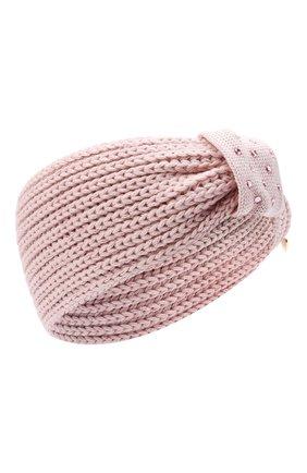 Детская шерстяная повязка IL TRENINO розового цвета, арт. 20 8244/E0 | Фото 1