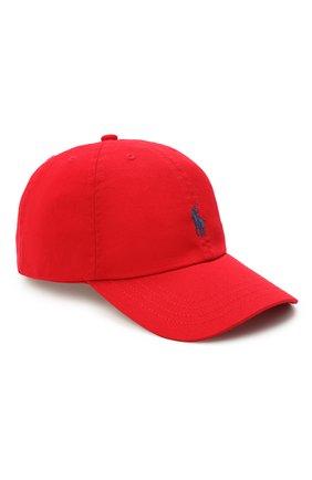 Детская хлопковая бейсболка POLO RALPH LAUREN красного цвета, арт. 323552489 | Фото 1