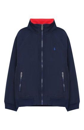 Детского хлопковая куртка POLO RALPH LAUREN синего цвета, арт. 323785763 | Фото 1