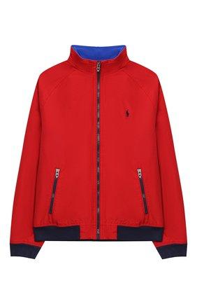 Детского хлопковая куртка POLO RALPH LAUREN красного цвета, арт. 323785763 | Фото 1