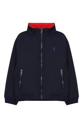 Детского хлопковая куртка POLO RALPH LAUREN синего цвета, арт. 322785763 | Фото 1