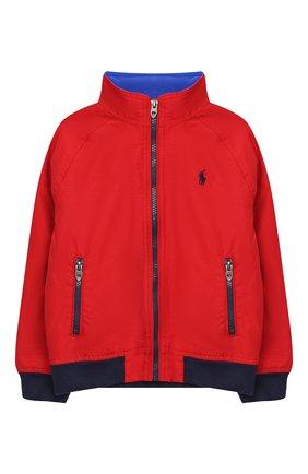 Детского хлопковая куртка POLO RALPH LAUREN красного цвета, арт. 322785763 | Фото 1